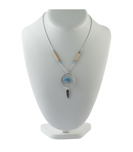 Native American LIQUID SILVER NECKLACE, Dream Catcher and bear, silver and turquoise, women and kids