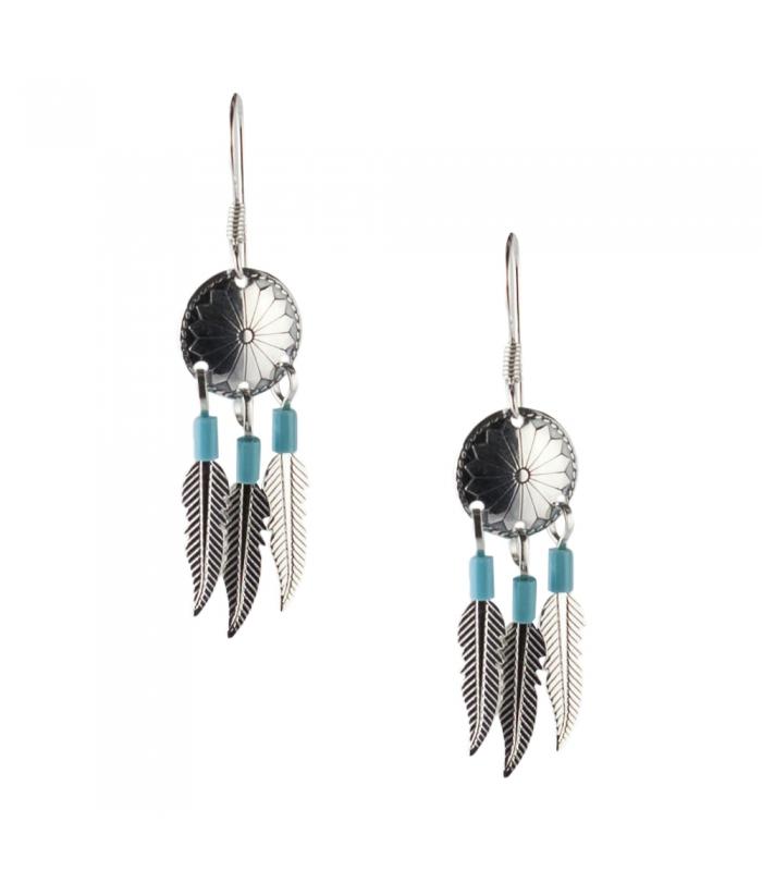 boucles d 39 oreilles navajo plume argent turquoises femme enfant. Black Bedroom Furniture Sets. Home Design Ideas