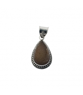 INDIAN PENDANT, EMBROIDERED SILVER AND AGATE DRUZZY,