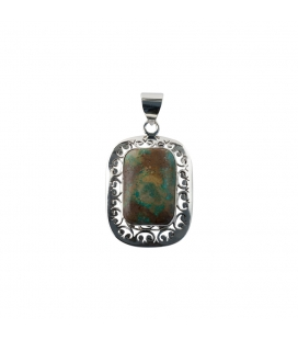 RECTANGLE INDIAN PENDANT, OPENWORK SILVER AND TURQUOISE,