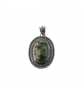 INDIAN PENDANT, EMBROIDERED SILVER AND TURQUOISE,