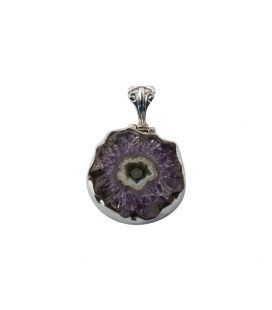 LARG INDIAN PENDANT, SILVER AND AMETHYST SLICE, FOR WOMEN,