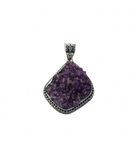 LARG INDIAN PENDANT, SILVER AND AMETHYST DRUZZY, FOR WOMEN