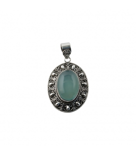 LARG INDIAN PENDANT, SILVER AND BLUE CALCEDONY, FOR WOMEN,