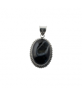 LARG INDIAN PENDANT, SILVER AND ONYX DRUZZY, FOR WOMEN,