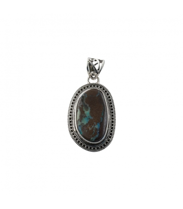 INDIAN OVAL PENDANT, SILVER AND BOULDER OPAL,