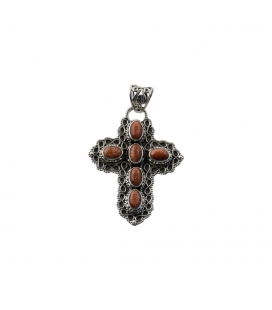 CROSS PENDANT, FROM INDIA, SILVER AND BROWN SUNSTAR,