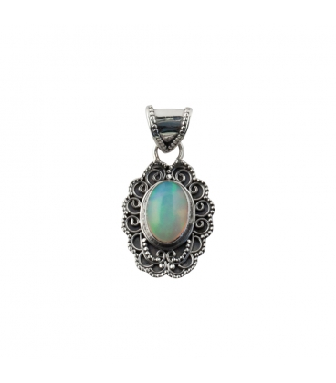 INDIAN OVAL PENDANT, SILVER AND ETHIOPIAN OPAL,