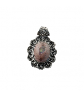 INDIAN OVAL PENDANT, SILVER AND MEXICAN OPAL,