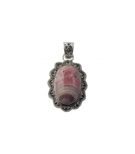 INDIAN OVAL PENDANT, SILVER AND RHODOCROSITE,