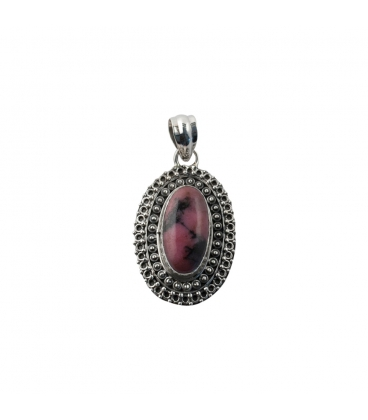 INDIAN OVAL PENDANT, SILVER AND RHODONITE,