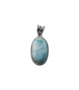INDIAN OVAL PENDANT, SILVER AND MOONSTONE,