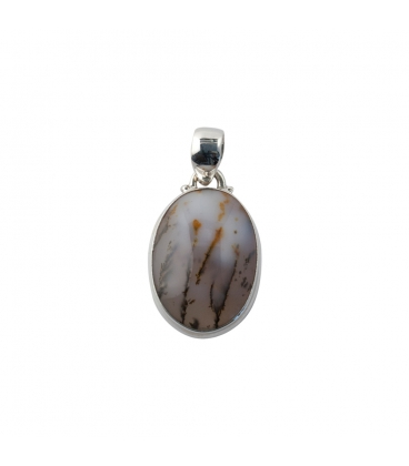 INDIAN OVAL PENDANT, SILVER AND DENTRITE