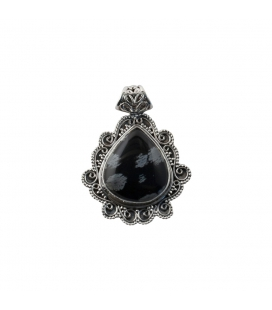 INDIAN DROP PENDANT, SILVER AND OBSIDIAN, FOR WOMEN