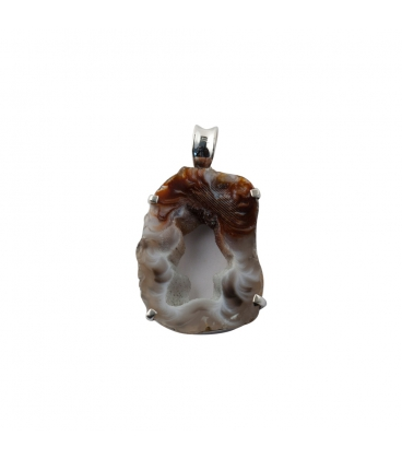 INDIAN PENDANT, SILVER AND GEODE DRUZZY,FOR WOMEN
