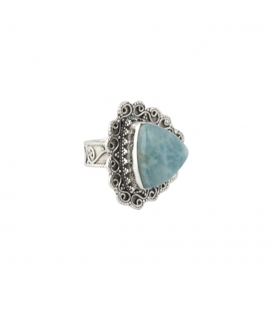 Indian Triangle Ring, Round Larimar on embroidered Silver, for woman