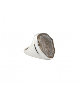 INDIAN RING, SILVER AND GEODE DRUZZY, FOR WOMEN