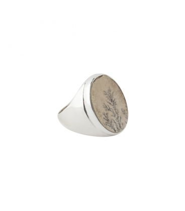 """INDIAN RING, SILVER AND PSILOMANE """"GERMAN"""" DENTRITE, FOR WOMEN"""