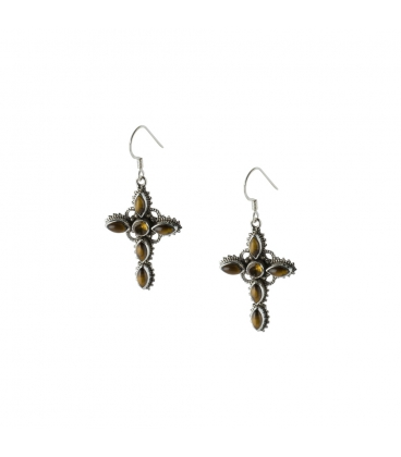 INDIAN EARRINGS,CROSS IN SILVER AND TURQUOISE, FOR WOMEN