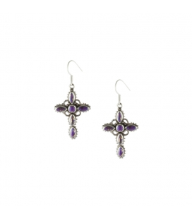 INDIAN EARRINGS,CROSS IN SILVER AND PURPLE COPPER TURQUOISE, FOR WOMEN