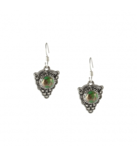 INDIAN EARRINGS,CROSS IN SILVER AND GREEN COPPER TURQUOISE, FOR WOMEN