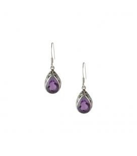 LONG INDIAN EARRINGS,SILVER AND AMETHYST, FOR WOMEN