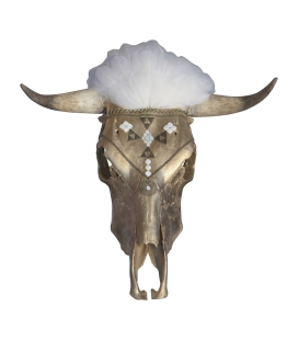 REAL COW SKULL WITH SHELL GEMSTONES, FEATHERS AND BRONZE, BANDITAS CREATION