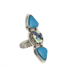 """Bague """"Abalone Turquoises"""", Création SL bijoux, 2 Nacozaris Turquoise et Abalone, montées sur Argent"""
