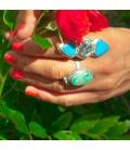 Longue Bague Femme, Création Banditas, 2 Nacozaris Turquoise et Abalone, montées sur Argent, travail fait main