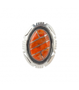 Native American Zuni Ring, Apple Coral and Silver 925, men and women