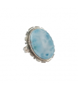 Indian Ring, Oval Larimar on Silver, for woman