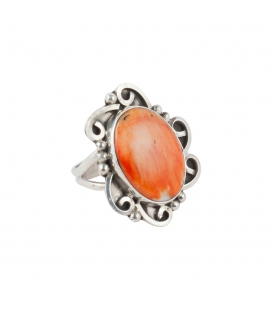 Big Native American Navajo Ring, Spiney Oyster and Silver 925, for women