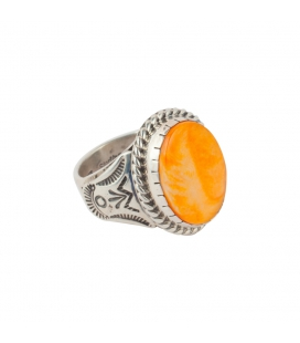 Signet Native American Navajo Ring, Spiney Oyster and Silver 925, for men and women