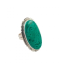 BIG NATIVE AMERICAN NAVAJO RING, SILVER AND AZURITE , FOR WOMEN AND MEN