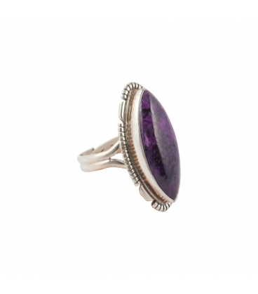 NATIVE AMERICAN RING, SILVER AND BIG AMETHYST , FOR WOMEN,