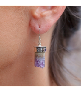 "INDIAN EARRINGS,SILVER AND ""TUBE"" AMETHYST, FOR WOMEN"