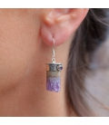 """INDIAN EARRINGS,SILVER AND """"TUBE"""" AMETHYST, FOR WOMEN"""