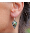 INDIAN EARRINGS,SILVER AND GREEN COPPER TURQUOISE, FOR WOMEN