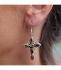 INDIAN EARRINGS,CROSS IN SILVER AND TIGER EYES, FOR WOMEN