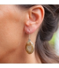 OVAL INDIAN EARRINGS,SILVER AND LAGUNA LACE AGATE, FOR WOMEN