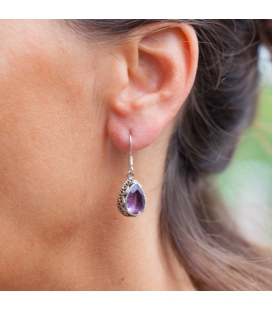 INDIAN EARRINGS,SILVER AND DROP AMETHYST, FOR WOMEN