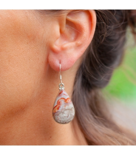 DROP INDIAN EARRINGS,SILVER AND LAGUNA LACE AGATE, FOR WOMEN