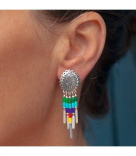 NATIVE AMERICAN NAVAJO WOMEN EARRINGS, SILVER AND MUTIL COLORED STONES