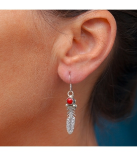 Silver and Stones Feather Earrings, from Native American Navajo, woman or girl