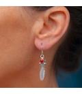 boucles d'oreille Plume Argent et Pierres, origine Amérindien Navajo, femme ou enfant