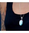 INDIAN OVAL PENDANT, SILVER AND LARIMAR,