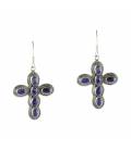 INDIAN EARRINGS,CROSS IN SILVER AND SAPHIRE FOR WOMEN