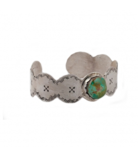 """Manchette """"Vagues"""" SL bijoux Créations, en Argent et Turquoise,fait main, pour femme"""