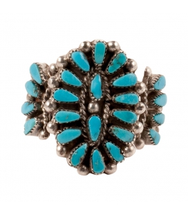 "LITTLE ZUNI OVAL ""NEEDLE POINT"" RING BY S.LAHI, SILVER AND ""SLEEPING BEAUTY"" TURQUOISE, FOR WOMEN AND CHILDREN"