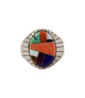Grosse Chevalière Zuni Multicolore ovale, Homme et femme